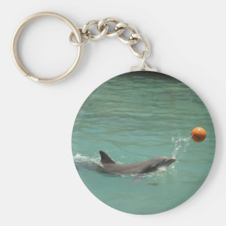 Dolphin playing ball basic round button keychain