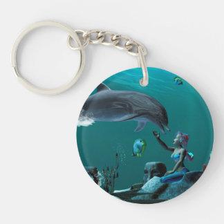 Dolphin playing acrylic keychain