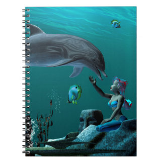 Dolphin playing note book