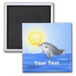 Dolphin Playing with Sun 2 Inch Square Magnet