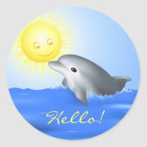 Dolphin Playing with Sun Classic Round Sticker