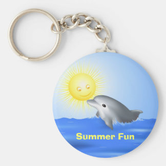 Dolphin Playing with Sun Keychain