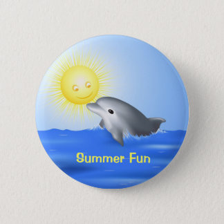 Dolphin Playing with Sun Pinback Button
