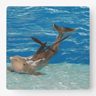 Dolphin Pose Square Wall Clock