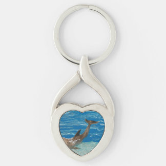 Dolphin Pose Silver-Colored Heart-Shaped Metal Keychain