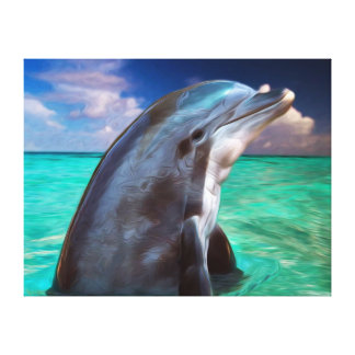 Dolphin Profile Stretched Canvas Print