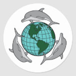 Dolphin Recycle Classic Round Sticker