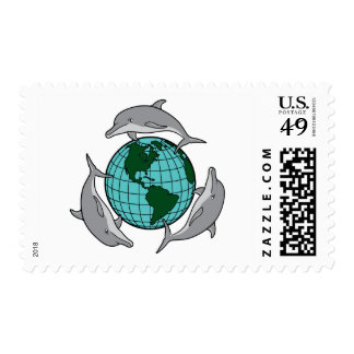 Dolphin Recycle Postage Stamp