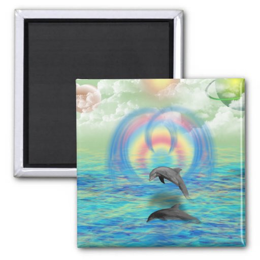 Dolphin Rising 2 Inch Square Magnet