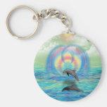 Dolphin Rising Basic Round Button Keychain