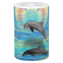Dolphin Rising Soap Dispenser And Toothbrush Holder