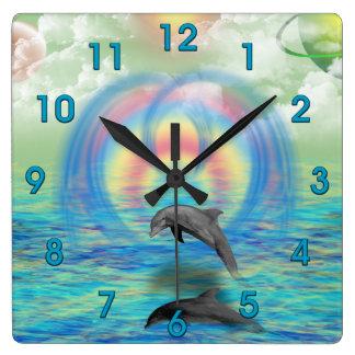 Dolphin Rising Square Wall Clock