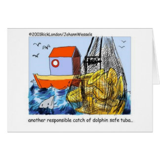Dolphin Safe Tuba Funny Gifts Tees & Collectibles Greeting Card