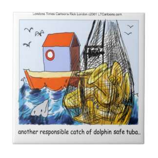 Dolphin-Safe Tuba Funny Tile