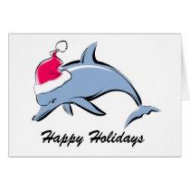 Dolphin Santa Christmas Card
