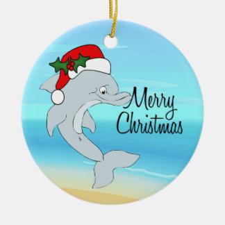 Dolphin Santa Tropical Christmas Ornament