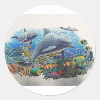 Dolphin Sea Dance Classic Round Sticker