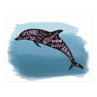 Dolphin Silhouette and Cute Typography Postcard