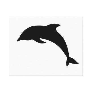 Dolphin Silhouette Stretched Canvas Print