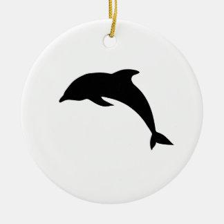 Dolphin Silhouette Ceramic Ornament
