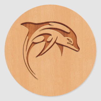 Dolphin silhouette engraved on wood design classic round sticker