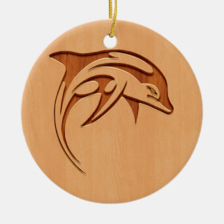Dolphin silhouette engraved on wood design Double-Sided ceramic round christmas ornament
