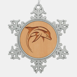 Dolphin silhouette engraved on wood design snowflake pewter christmas ornament