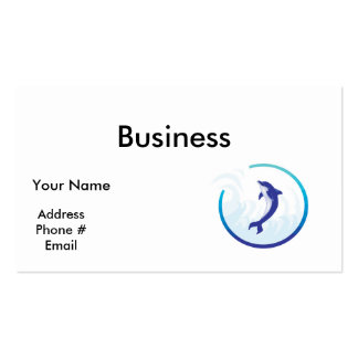 dolphin splash circle design business card template