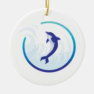 dolphin splash circle design Double-Sided ceramic round christmas ornament