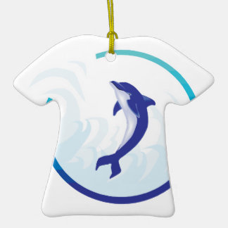 dolphin splash circle design Double-Sided T-Shirt ceramic christmas ornament