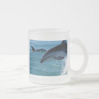 Dolphin Splash Destiny Beach Ocean Nature Frosted Glass Coffee Mug