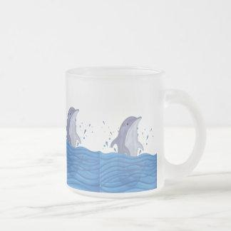 Dolphin Splash Frosted Glass Coffee Mug
