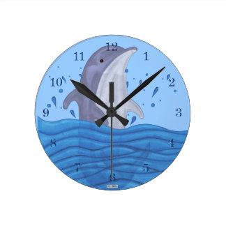 Dolphin Splash Round Clock