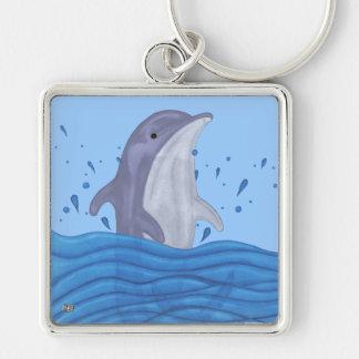 Dolphin Splash Silver-Colored Square Keychain