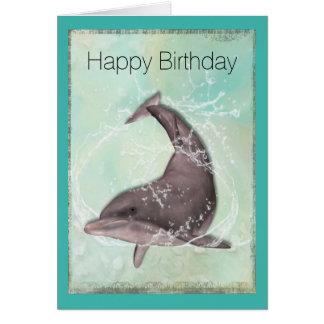 Dolphin Splashing Around Happy Birthday Card