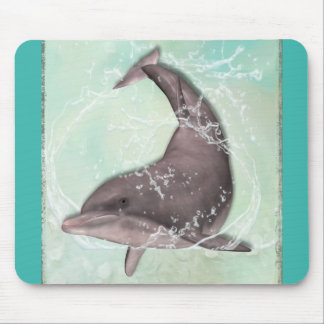 Dolphin Splashing Around in Cool Green Water Mouse Pad