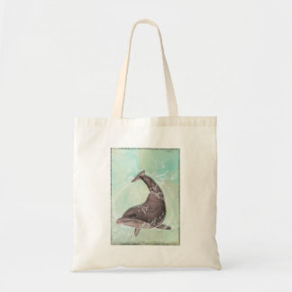 Dolphin Splashing Around in Cool Green Water Tote Bag
