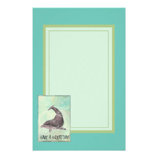 Dolphin Splashing Around Says Have A Great Day Stationery
