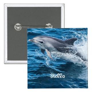 Dolphin Splashing Personalized Button