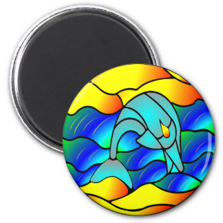 Dolphin Stained Glass Style 2 Inch Round Magnet