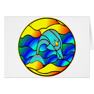 Dolphin Stained Glass Style Card