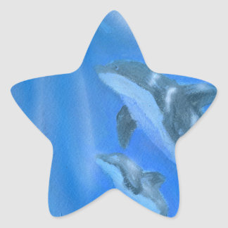 Dolphin Stars Star Sticker