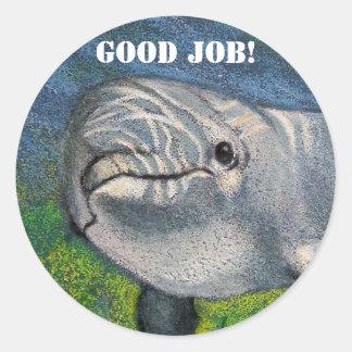 DOLPHIN STICKERS: GOOD JOB! CLASSIC ROUND STICKER