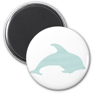 Dolphin - strips - blue and white. magnet