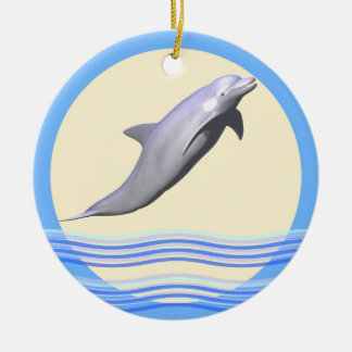 Dolphin Sun and Waves Ceramic Ornament