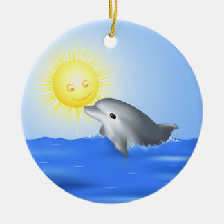 Dolphin & Sun Ceramic Ornament