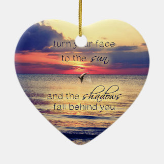 Dolphin Sunset Double-Sided Heart Ceramic Christmas Ornament