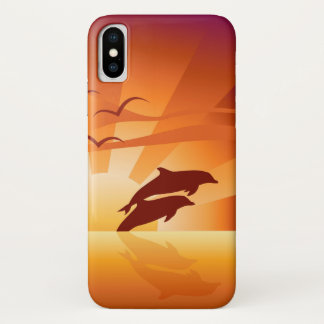 Dolphin Sunset iPhone X Case