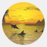 Dolphin Sunset Sticker