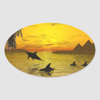 Dolphin Sunset Sticker